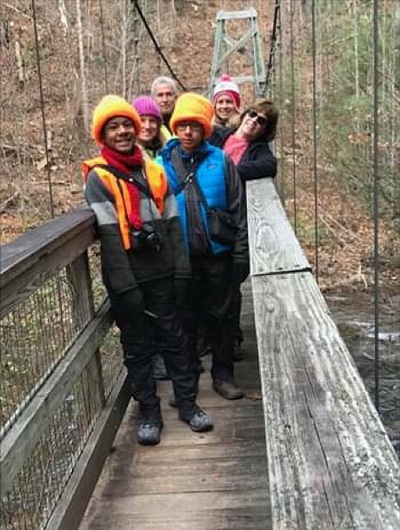 Birders on Wild Oak bridge